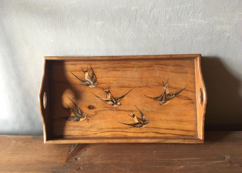 フランスアンティーク ツバメ 木のトレイ