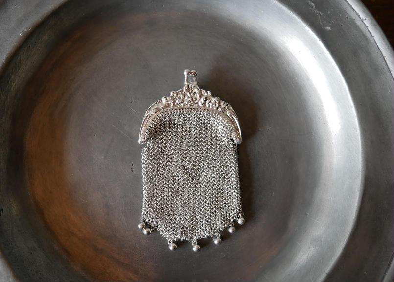 シルバー 純銀800 シャトレーン コインパース フランスアンティーク