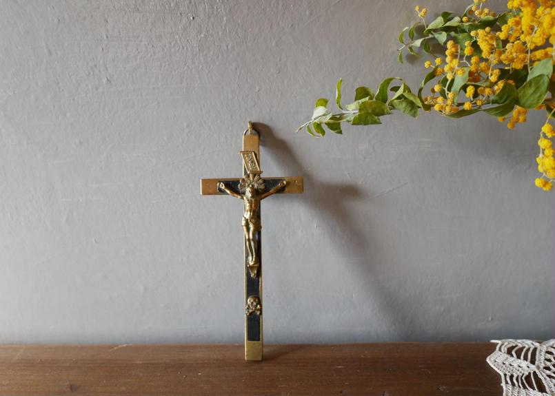 フランスアンティーク 十字架 ロザリオ キリスト