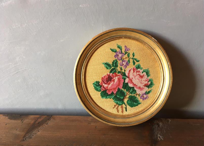 フランス アンティーク プチポワン 刺繍 ローズ