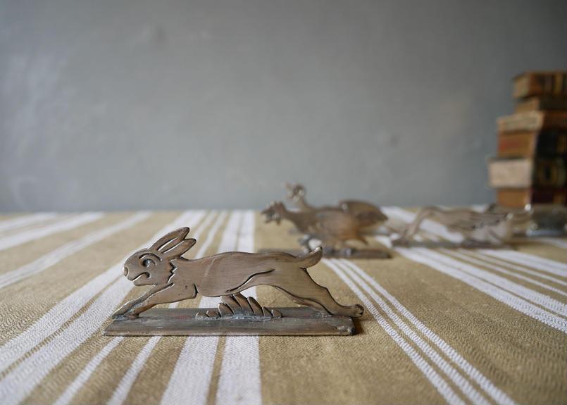 シルバー製 アニマル ナイフレスト 仏アンティーク ウサギ