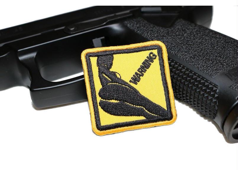 WARNING! シルエットベルクロワッペン