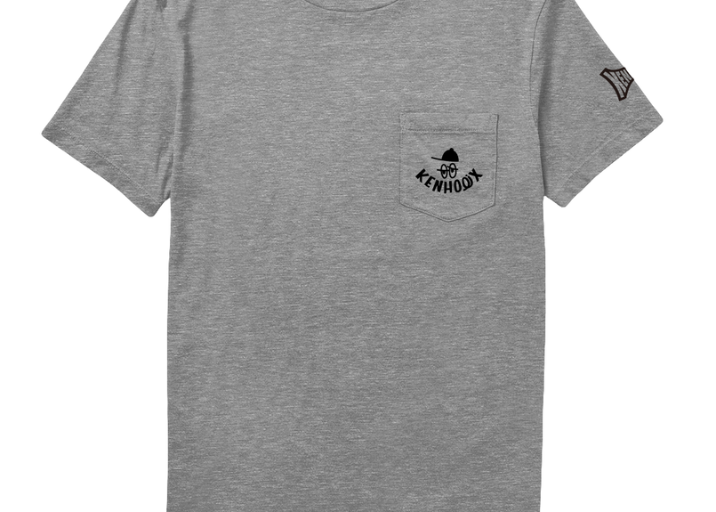 KENHOLIX WHT Label Logo Pocket Tee  -Gray-