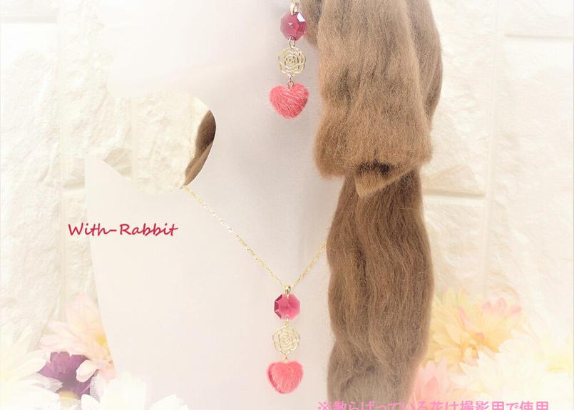 【数量限定】マカロンハート(レッド×ゴールド)イヤリングとネックレスのセット♥With-Rabbit◆ウィズラビット*アクセサリー