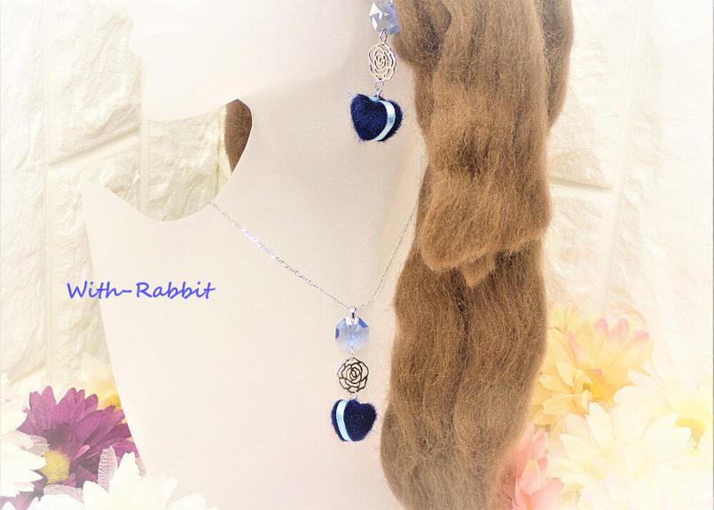【数量限定】マカロンハート(ブルー×シルバー)イヤリングとネックレスのセット♥With-Rabbit◆ウィズラビット*アクセサリー