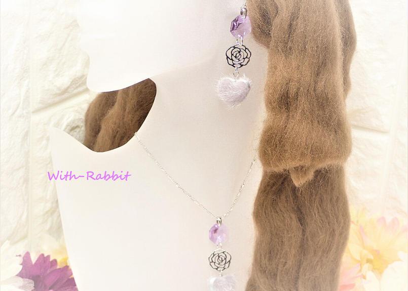 【数量限定】マカロンハート(バイオレット×シルバー)イヤリングとネックレスのセット♥With-Rabbit◆ウィズラビット*アクセサリー