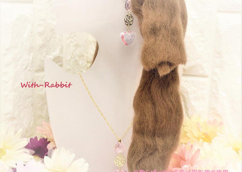 【数量限定】マカロンハート(シルバー/ピンク×ゴールド)イヤリングとネックレスのセット♥With-Rabbit◆ウィズラビット*アクセサリー