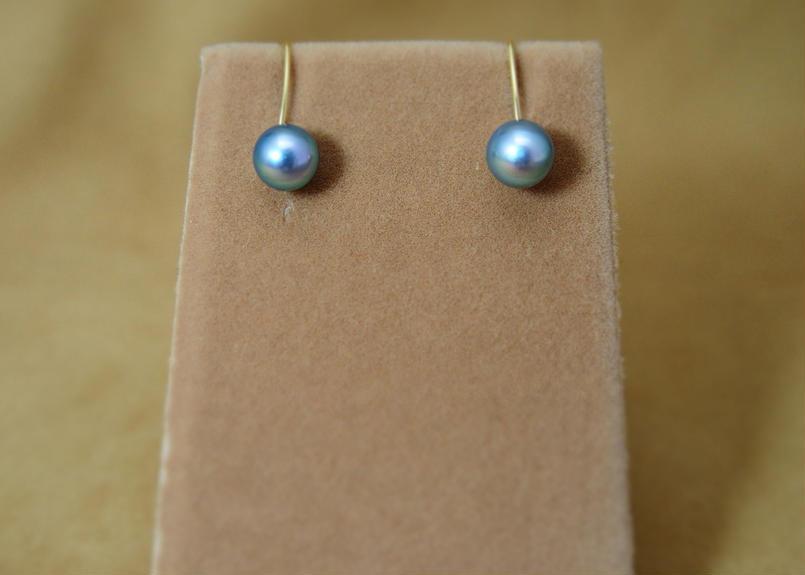 AkoyaPearl(Blue) Simple Earrings