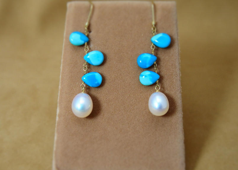 Arizona Turquoise&F.W.Pearl Earrings
