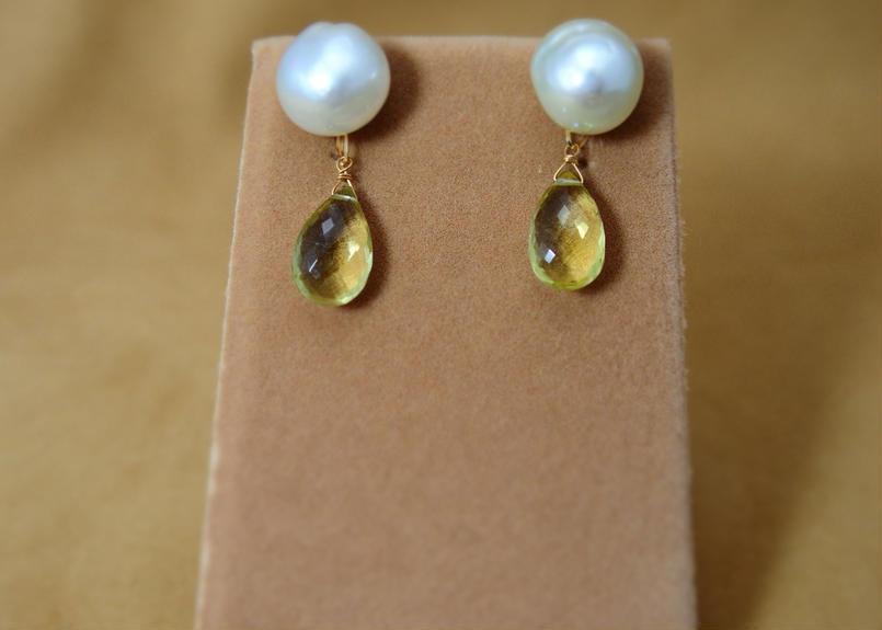 SouthSeaPearl Charm Earrings(LemonQuartz)