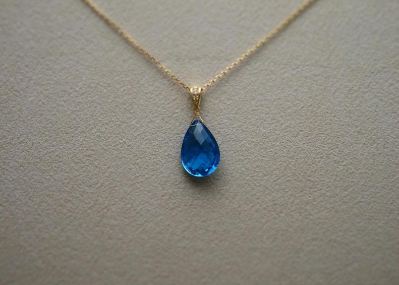 SwissBlueTopaz PendantTop(+Diamond)