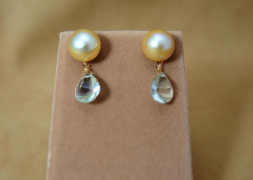 GoldenPearl Charm Earrings(GreenAmethyst)