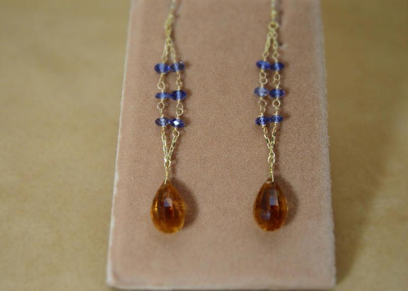 Citrine&Iolite Design Earrings