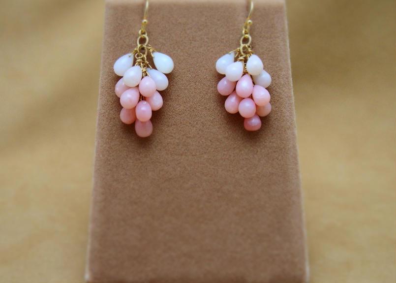 Pink Opal Prism Earrings