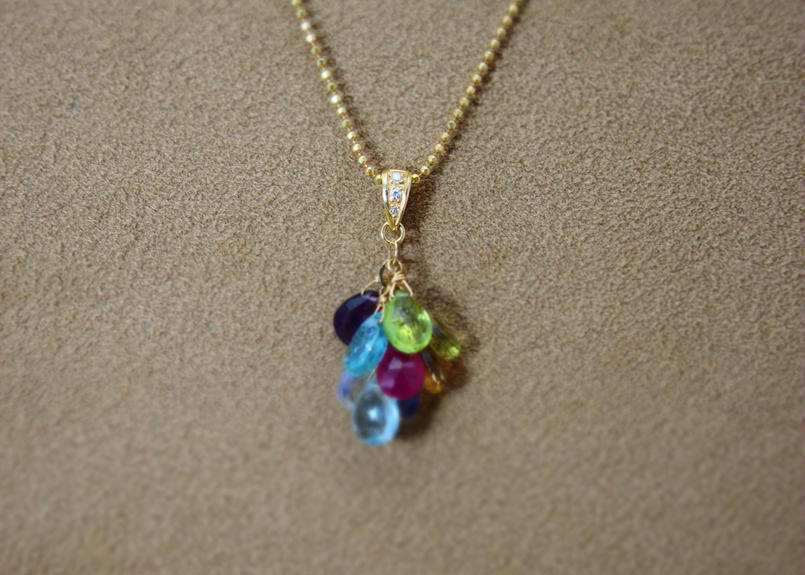 ColorStone Prism PendantTop(+Diamond)