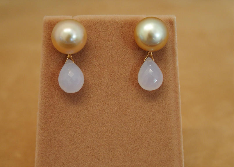 Golden Pearls&Blue Chalcedony Charm Earrings