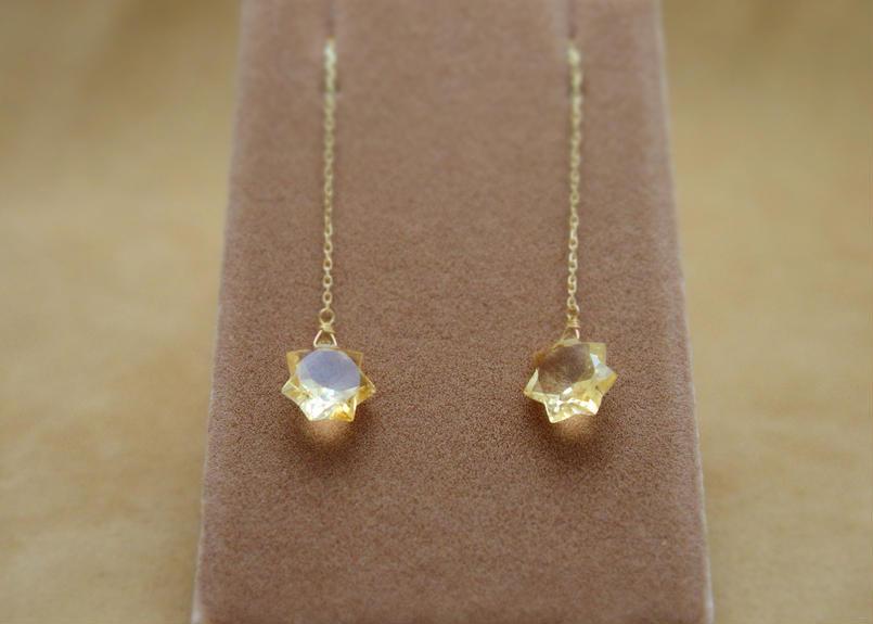Citrine StarCut Chain Earrings