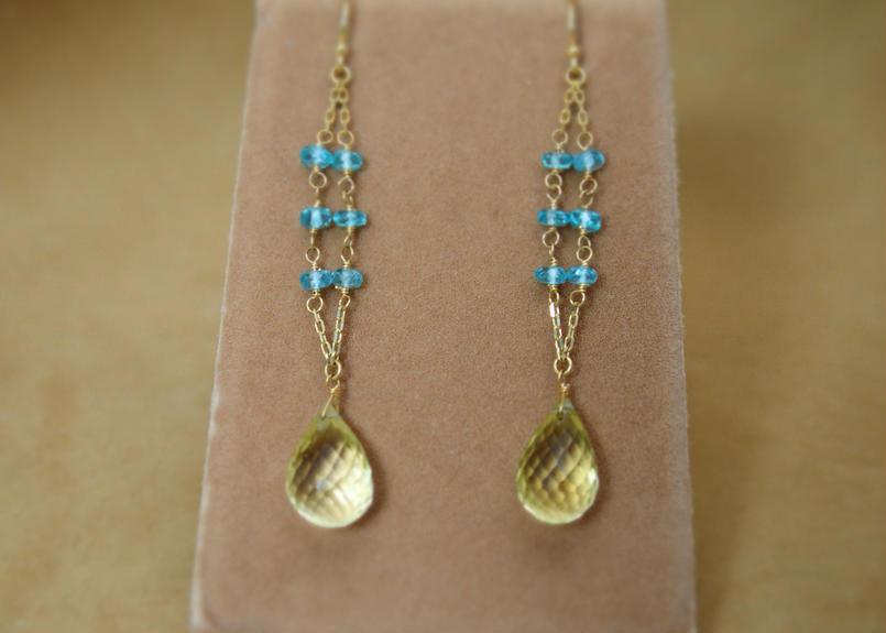 LemonQuartz&Apatite Design Earrings