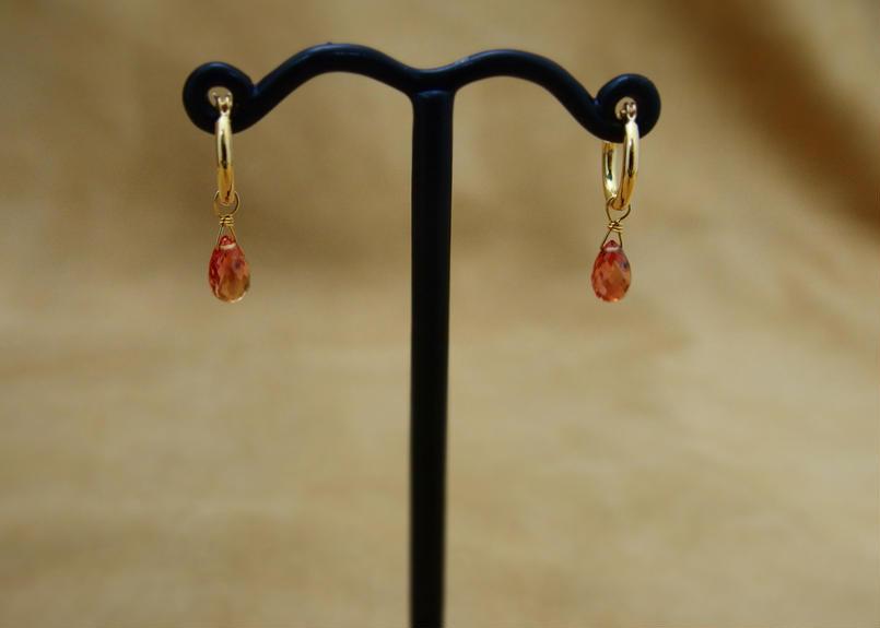 Orange Sapphire Earrings(hoop)