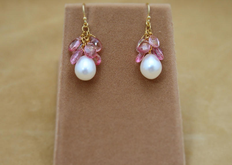 PinkTopaz&F.W.Pearl Chapeau Earrings