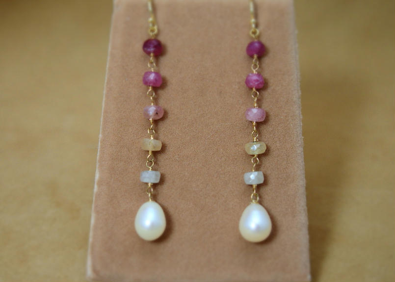 AfricanSapphire&F.W.Pearl Earrings