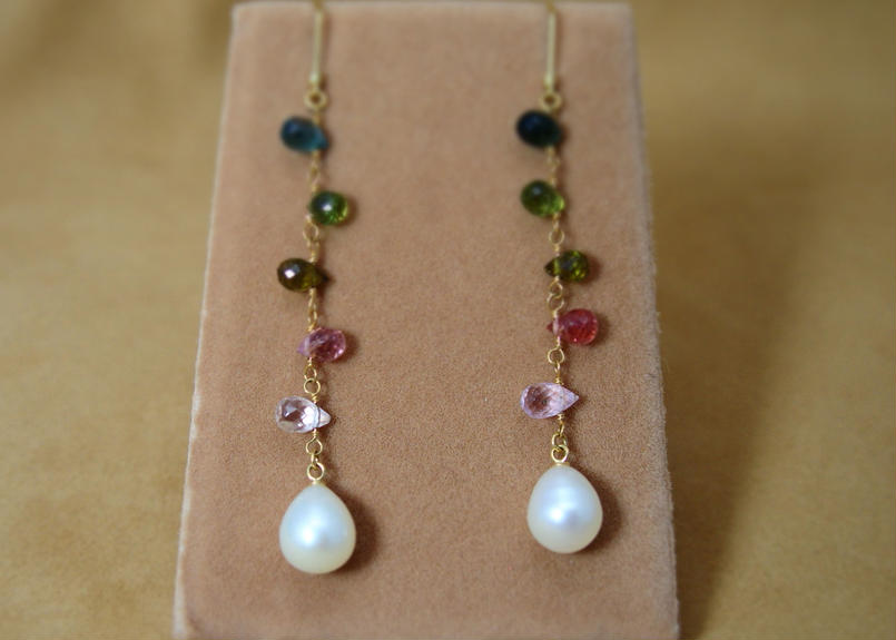 Multi Tourmarine &F.W.Pearl Earrings(d/c)
