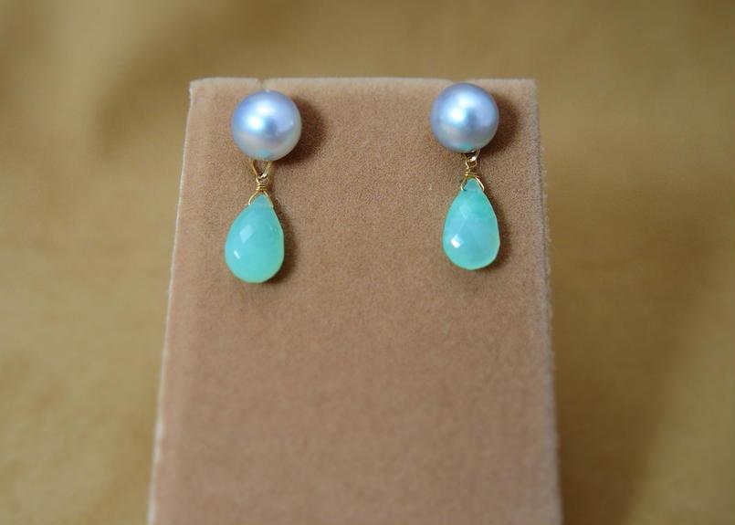 AKOYA Pearl&Chrysoprase Charm Earrings