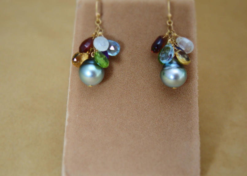 Tahitian Pearl&ColorStone Chapeau Earrings