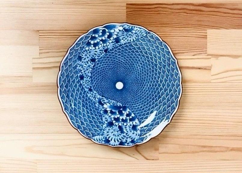 青海波紋流水図桔梗6.7寸皿