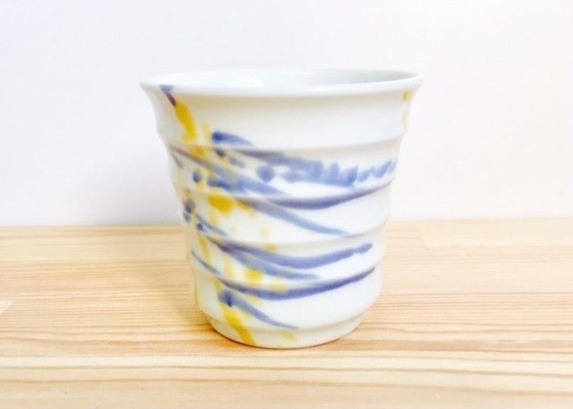 色釉遊び(アイボリー・青・黄)焼酎グラス