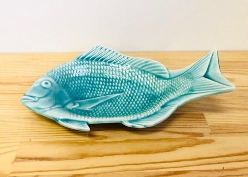 [陶器市]マリンブルー釉釉鯛型27.5cm皿