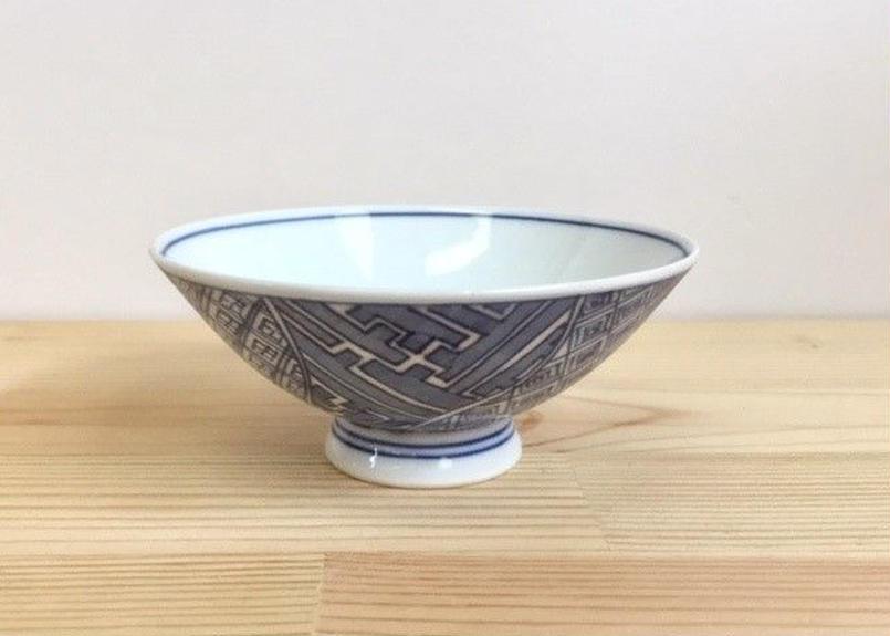 [陶器市]染付地紋四方割うす手茶碗