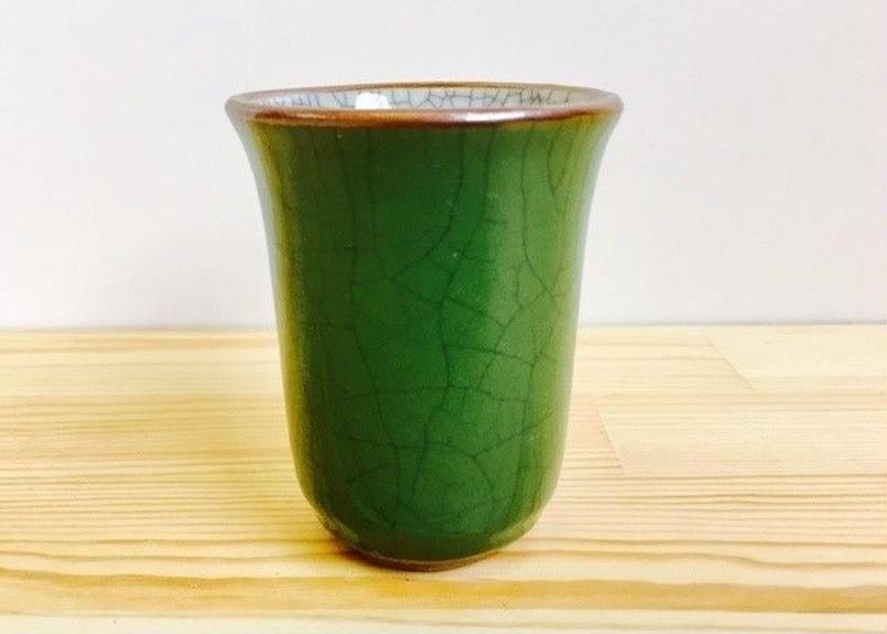 グリーン貫入湯呑