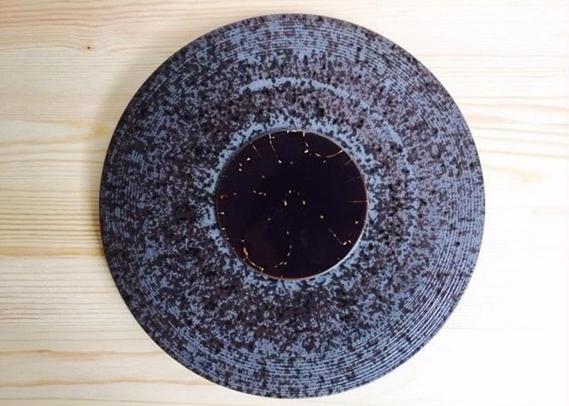 餅釉象形紋檀8寸プレート皿