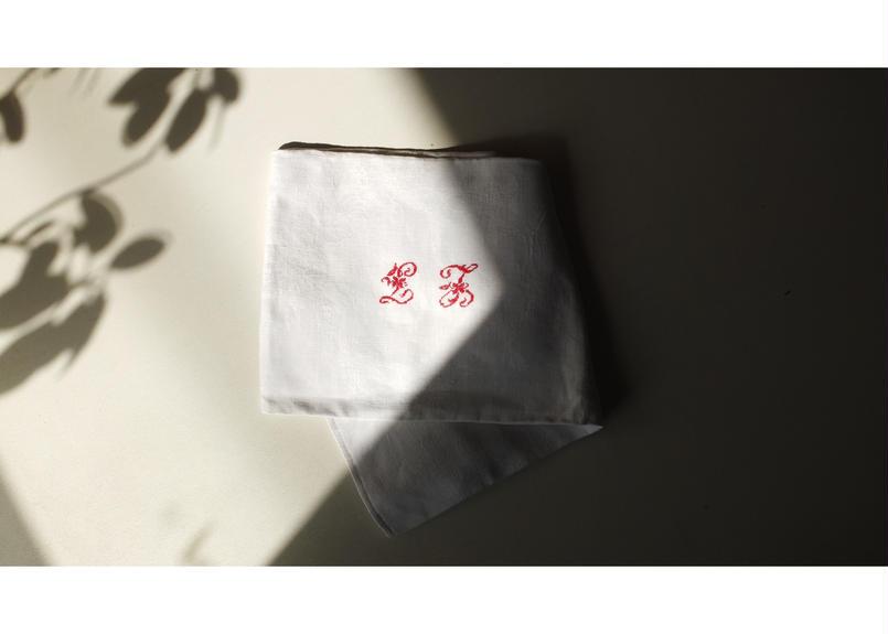 "French linen cloth ( Monogram""LJ"")"