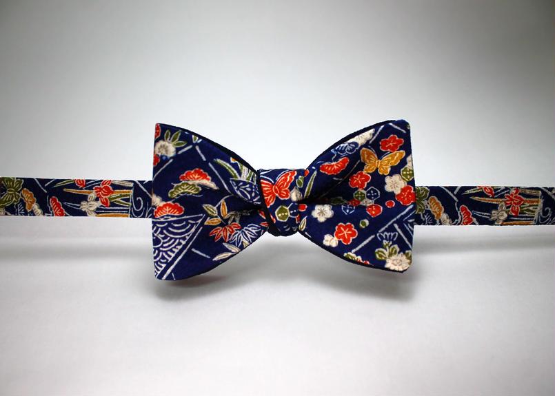 蝶ネクタイ KIMONO fabric 型友禅 上京蝶帯 #381