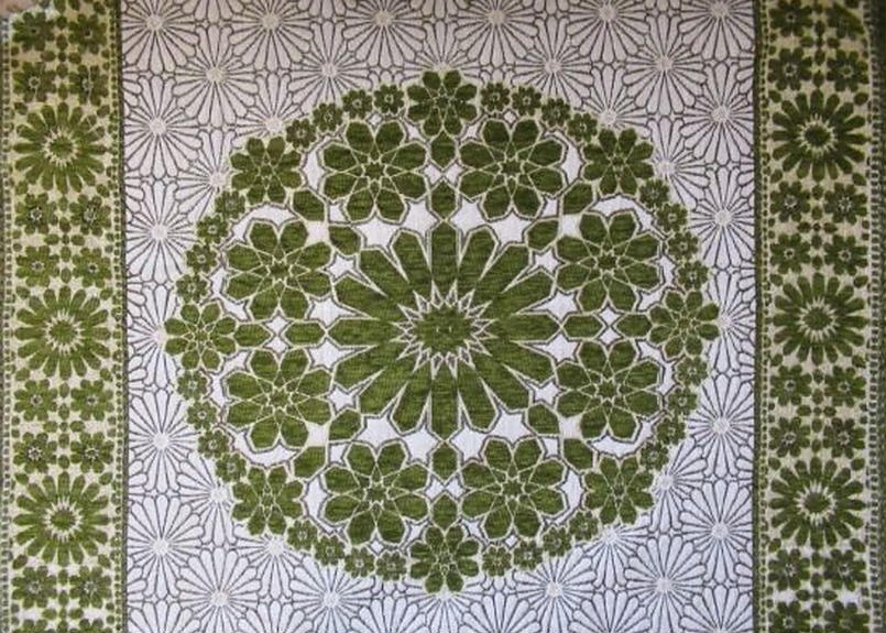 モロッコインテリア生地「モザイクパネル柄グリーン」55cm残り一点