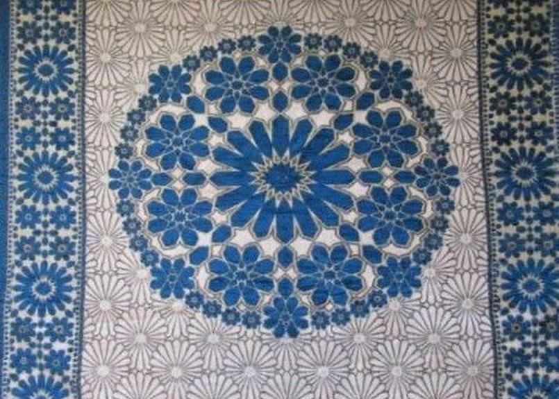 モロッコインテリア生地「モザイクパネル柄ブルー」55cm単位