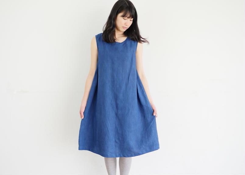 【受注製作】エシカルヘンプサイドプリーツワンピース カレン族藍染め 藍色