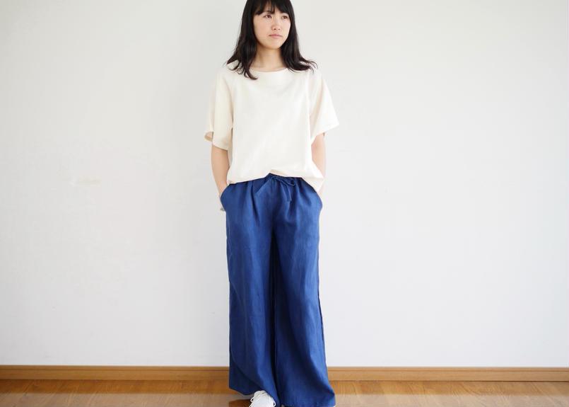 【受注製作】エシカルヘンプワイドパンツ カレン族藍染め 藍色