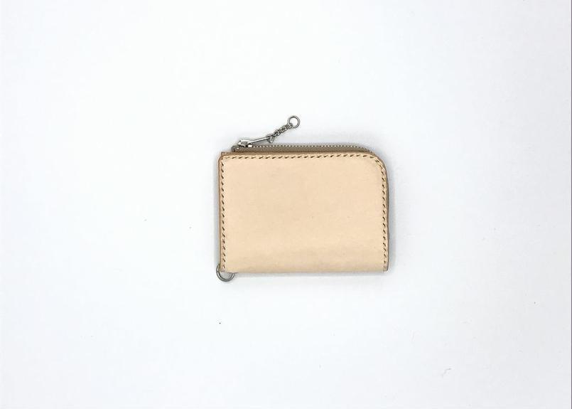 ファスナーコインケース ヌメ革:ナチュラル【選べるステッチカラー】(r008)