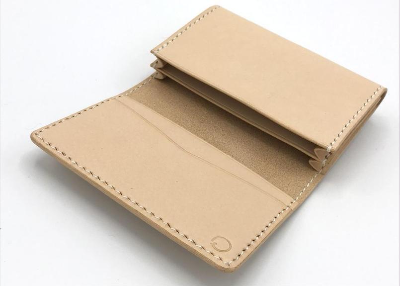 【セパレートタイプ】名刺入れ/カードケース ヌメ革:ナチュラル【選べるステッチカラー】(r201)