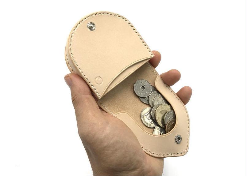 簡易馬蹄型コインケース /小銭入れ ヌメ革:ナチュラル【選べるステッチカラー】(r009)