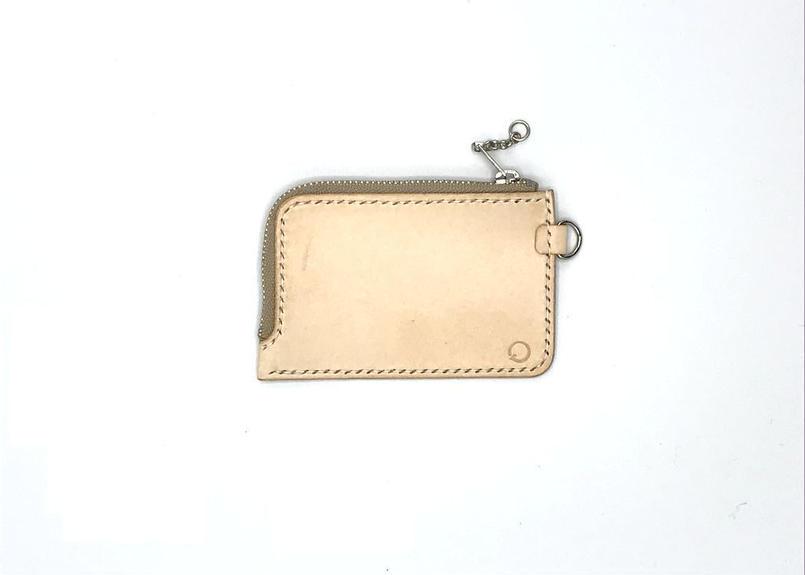 ファスナータイプコインケース/小銭入れ ヌメ革:ナチュラル【選べるステッチカラー】(r003)