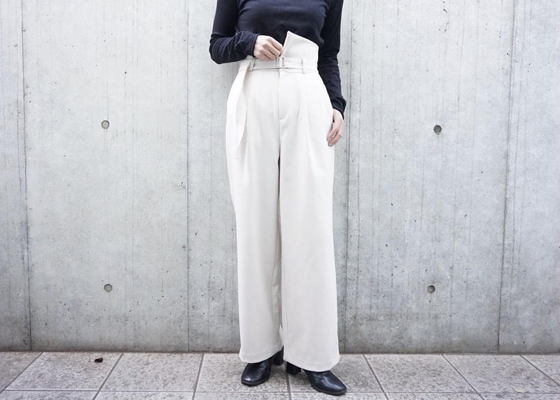 HIGHWAIST DESIGN WOOL PANTS
