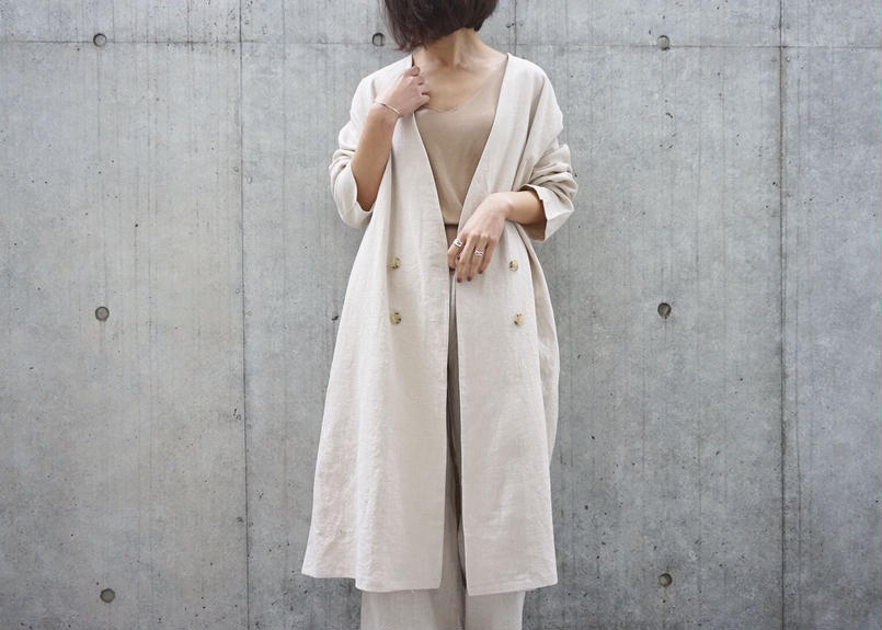 NO COLLAR LINEN JACKET