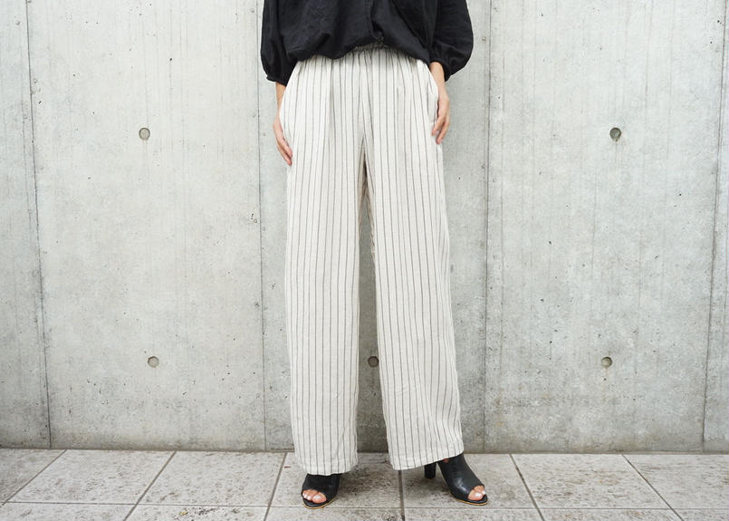 STRIPE LINEN RELAX PANTS