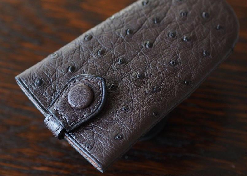 オーストリッチ革 内縫いベル型キーホルダー