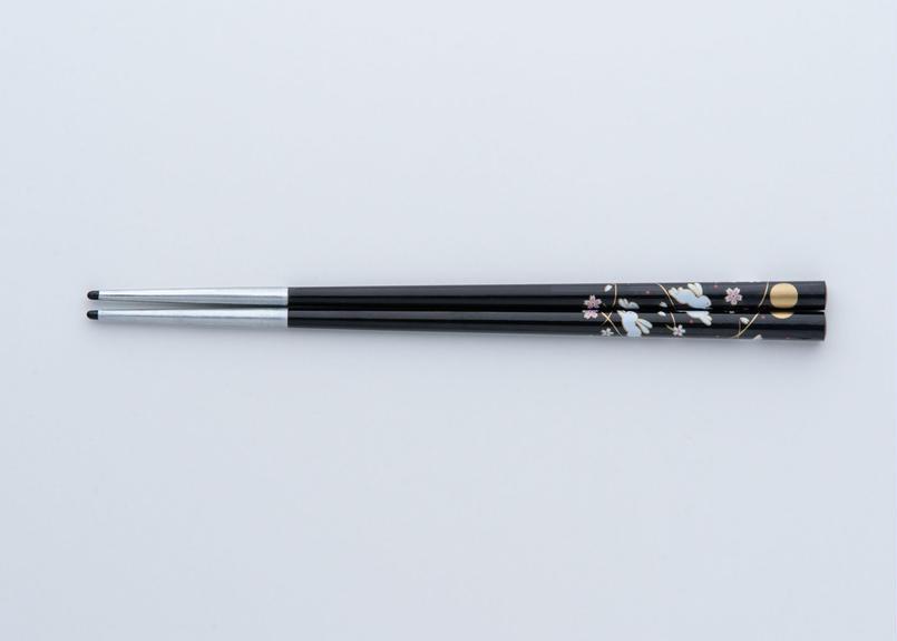 送料無料 サプリ箸 うさぎ柄 黒 19.5cm