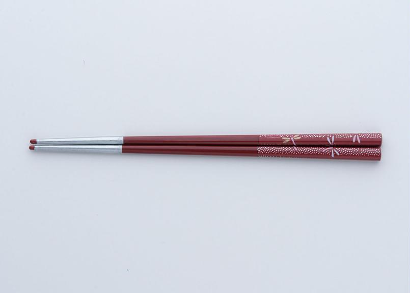 送料無料 サプリ箸 トンボ柄 赤 20 .0 cm